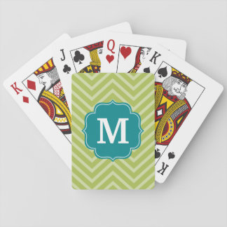 Chevron Pattern with Monogram - Teal Blue and Lime Card Decks