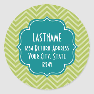 Chevron Pattern with Monogram - Teal Blue and Lime Classic Round Sticker