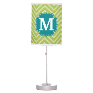 Chevron Pattern with Monogram - Teal Blue and Lime Desk Lamp