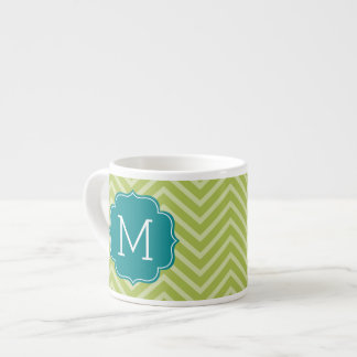 Chevron Pattern with Monogram - Teal Blue and Lime Espresso Mugs
