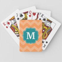 Chevron Pattern with Monogram - Teal Blue & Orange Playing Cards