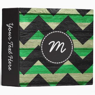 Chevron pattern wooden #3 binder
