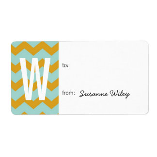 Chevron pattern yellow blue to from holiday gift label