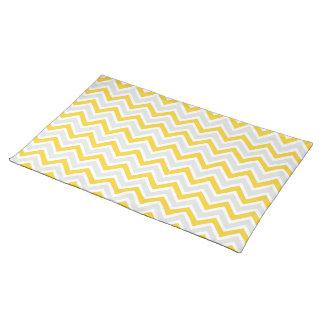 Chevron Pattern Yellow & Grey Modern Cloth Placemat