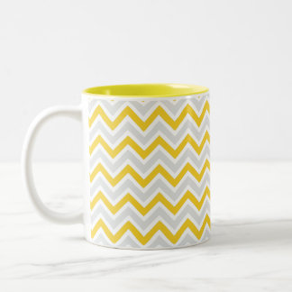 Chevron Pattern Yellow & Grey Modern Two-Tone Coffee Mug