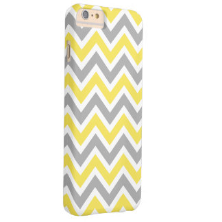 Chevron Pattern Zig Zag Gray and Yellow Barely There iPhone 6 Plus Case