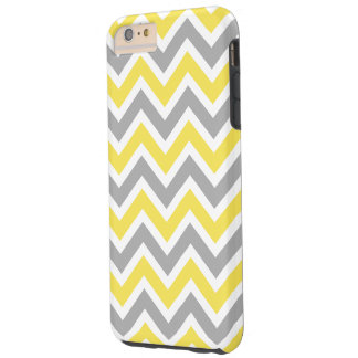 Chevron Pattern Zig Zag Gray and Yellow Tough iPhone 6 Plus Case