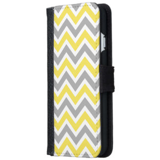 Chevron Pattern Zig Zag Gray and Yellow Wallet Phone Case For iPhone 6/6s