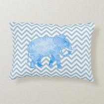 Chevron Patterned Blue Elephant Decorative Pillow