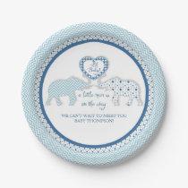 Chevron Patterned Elephants w Heart Oh Baby Boy Paper Plate