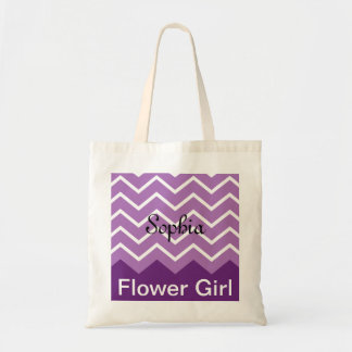 Chevron Personalized Wedding Party Tote (purple) Tote Bag