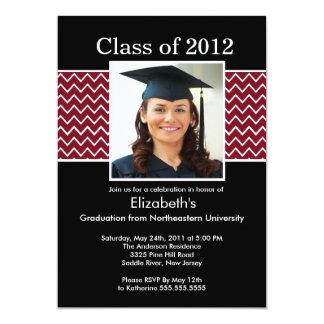 Chevron Photo Graduation Invitation - Maroon Black