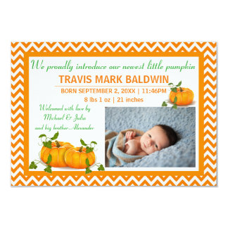 Chevron Photo Pumpkin - 3x5 Birth Announcement