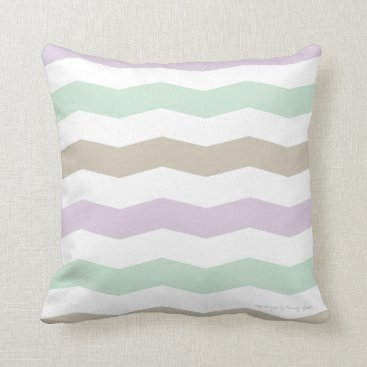 Beach Themed Chevron Pillow in Lilac/Seaglass/Sand Multi