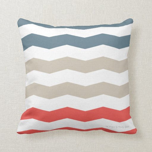 Chevron Pillow in Stormy/Sand/Tangerine Multi Pillow