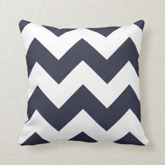 Chevron Pillow with Navy Blue Zigzag