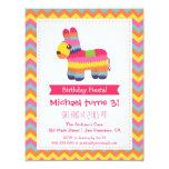 Chevron Pinata Mexican Fiesta Kids Birthday Party 4.25x5.5 Paper Invitation Card