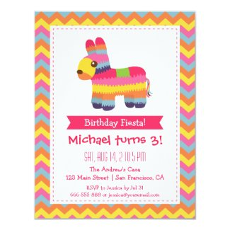 Chevron Pinata Mexican Fiesta Kids Birthday Party Card