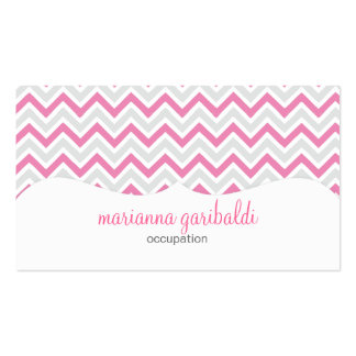 Chevron Pink and Modern Personalized Business Card