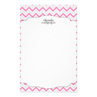 Chevron Pink and Modern Personalized Stationery