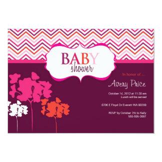 Chevron Pink Baby Shower Invitation