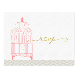Chevron Pink Birdcage with Gold RSVP Postcard