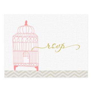 Chevron Pink Birdcage with Gold RSVP Postcard