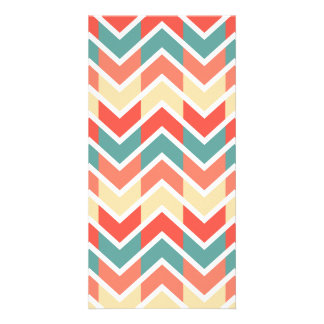 Chevron Pink Blue Geometric Designs Color Picture Card