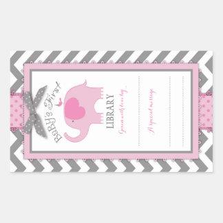 Chevron Pink Elephant Book Plate Label