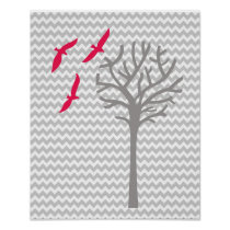 Chevron pink gray baby girl nursery art Print