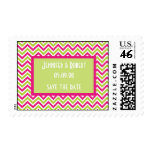Chevron pink green funky custom save the date postage stamp