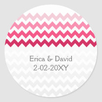 chevron Pink Ombre wedding favor stickers