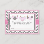 Chevron Pink Owl Diaper Raffle Ticket Enclosure Card