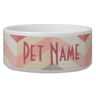 Chevron Pink Pattern Custom Pet Dish