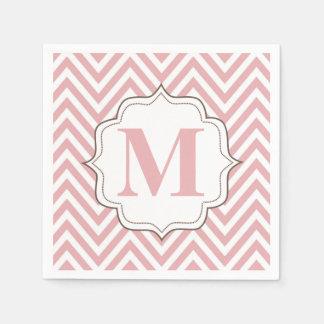 Chevron Pink Personalized Monogram Napkins Disposable Napkin