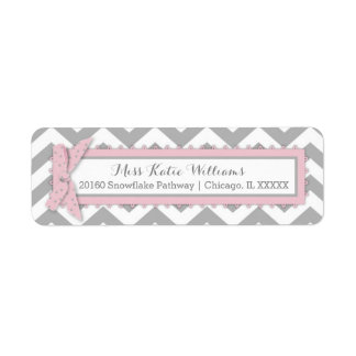 Chevron Pink Polka-dot Bow Baby Girl Label