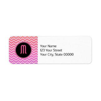 Chevron Pink Purple Monogram Label