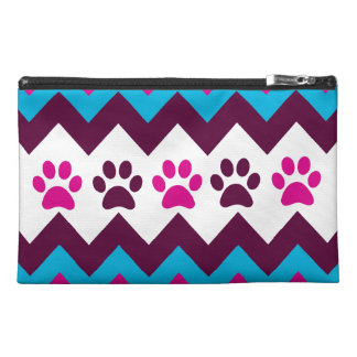 Chevron Pink Teal Puppy Paw Prints Dog Lover Gifts Travel Accessory Bags