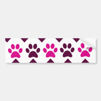 Chevron Pink Teal Puppy Paw Prints Dog Lover Gifts Bumper Sticker