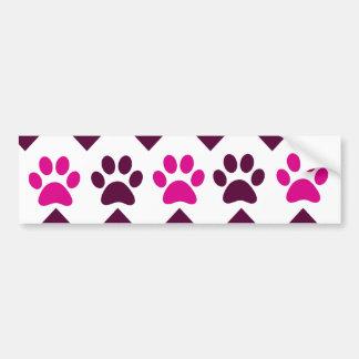 Chevron Pink Teal Puppy Paw Prints Dog Lover Gifts Bumper Sticker