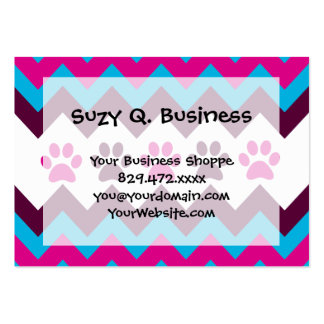 Chevron Pink Teal Puppy Paw Prints Dog Lover Gifts Large Business Cards (Pack Of 100)