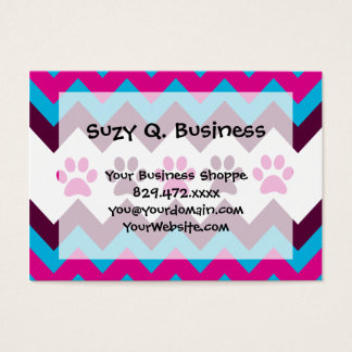 Chevron Pink Teal Puppy Paw Prints Dog Lover Gifts Business Card