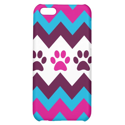 Chevron Pink Teal Puppy Paw Prints Dog Lover Gifts Cover For iPhone 5C