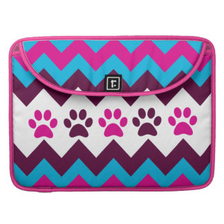 Chevron Pink Teal Puppy Paw Prints Dog Lover Gifts MacBook Pro Sleeves