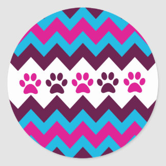 Chevron Pink Teal Puppy Paw Prints Dog Lover Gifts Sticker