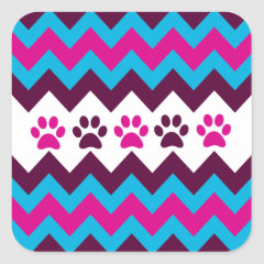 Chevron Pink Teal Puppy Paw Prints Dog Lover Gifts Stickers