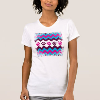 Chevron Pink Teal Puppy Paw Prints Dog Lover Gifts T-Shirt