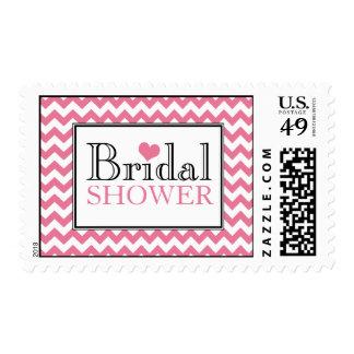 Chevron Pink & White Bridal Shower Postage Stamps