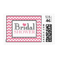 Chevron Pink & White Bridal Shower Postage Stamps