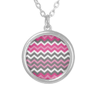 Chevron Pinks,Grays, and White. Round Pendant Necklace